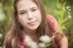 Young girl portrait. In summer close-up Royalty Free Stock Photo