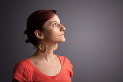 Young girl portrait thinking with copyspace Royalty Free Stock Image