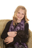 Young girl pose sit with pig looking Stock Photography