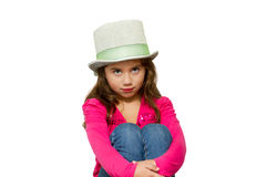 Young girl poses shy expression Stock Photos