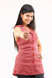 Young girl posing challenge action. In red shirt Royalty Free Stock Photo