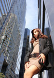 Young girl posing in a city stock photography