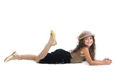 Young girl posing on floor Royalty Free Stock Photo