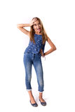 Young girl posing in jeans Stock Photos