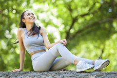 Young girl posing outdoor in her sportswear stock image