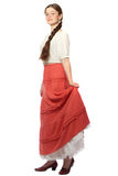 Young girl posing in red skirt Royalty Free Stock Photo