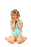 Young Girl Posing Sad. On isolated white background Royalty Free Stock Photos