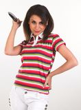 Young girl posing with T-shirt holding  knife Stock Photos