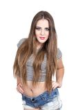 Young girl posing wearing crop top Royalty Free Stock Photo