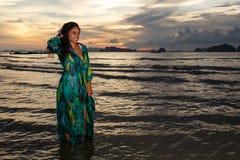 Young girl posses at Ao Nang Beach, Krabi, Thailand royalty free stock image