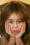 Young Girl Pouting. With her bottom lip sticking out stock photo