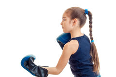 Young girl practicing boxing Royalty Free Stock Image