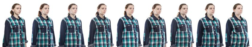Young girl during pregnancy in plaid shirt. Caucasian woman during pregnancy in plaid shirt on white background stock images