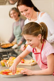 Young girl prepare apple pie with mother Royalty Free Stock Image