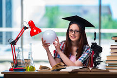 The young girl preparing for exams Royalty Free Stock Photo
