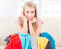 Young girl preparing her luggage Stock Photo