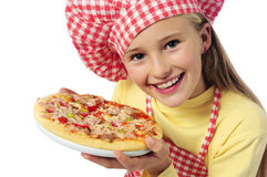 Young girl preparing homemade pizza Royalty Free Stock Photo