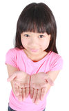 Young girl presenting copy space Royalty Free Stock Photos