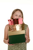 Young girl with presents Stock Photography