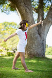 Young girl pretending to be a superhero Royalty Free Stock Images