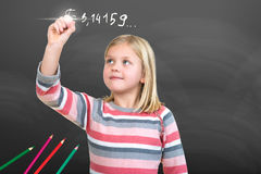 Young Girl pretending to draw with chalk Royalty Free Stock Image