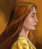 Young girl profile artistic portrait study. Profile of the young redhead girl in yellow dress, artistic sketch stock illustration