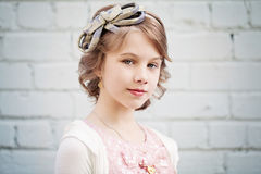 Young Girl with Prom Hairstyle Outdoor. S Royalty Free Stock Image