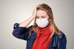 Young girl in protection mask. Allergy and flu person equipment. Safety medical protect royalty free stock photos