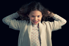 Young Girl Pulling Her Hair Royalty Free Stock Images
