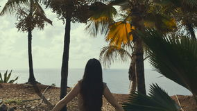 The young girl pulls hands near ocean and palms. Ocean view. stock footage