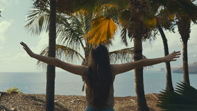 The young girl pulls hands near ocean and palms. Ocean view. stock video