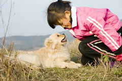 Young girl and puppy. A young girl in red coat and  a grey puppy  ,taken in  a wild field in a hill Royalty Free Stock Images