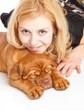 Young girl with puppy of Dogue de Bordeaux Stock Image