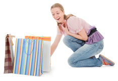 Young girl with purchases Stock Photography