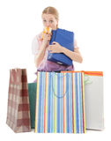 Young girl with purchases Royalty Free Stock Photos