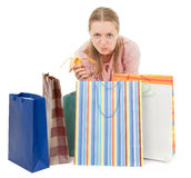 Young girl with purchases Stock Images