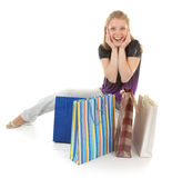 Young girl with purchases Stock Photos