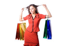 The young girl with purchases during shopping Royalty Free Stock Image