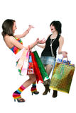 The young girl with purchases during shopping Stock Images