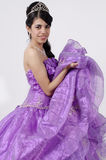 Young Girl in a Purple Dress Stock Images