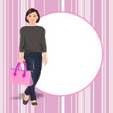 Young girl with purse stock photography