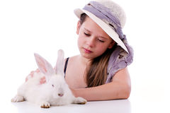 Young girl with rabbit Royalty Free Stock Image