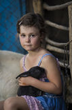 Young girl with rabbit Stock Images