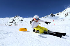 Young girl racing in Austria 4. Alpine race training in Solden, Austria. Young racer on a carving course stock photos