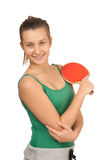 Young girl with a racket ping-pong Royalty Free Stock Images