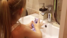 Young girl rag underwater water bath.  stock footage