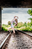 Young girl on the railroad Stock Image