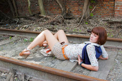 The young girl on the railway Royalty Free Stock Images