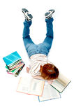 Young girl read the book on white. Young girl read the book royalty free stock images