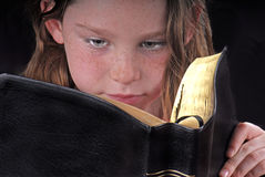 Young Girl Reading Bible Stock Images